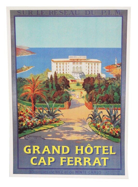 Vintage French Riviera Travel Poster - Grand Hotel in Monte Carlo