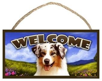 "Australian Shepherd ( Aussie ) Spring Season 10"" x 5"" Welcome Sign"