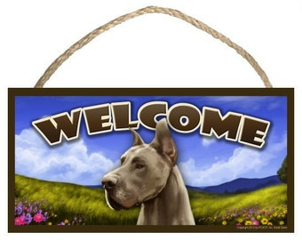 "Great Dane Spring Season 10"" x 5"" Welcome Sign"
