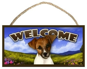 """Jack Russell Spring Season 10"""" x 5"""" Welcome Sign"""
