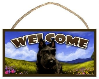 "Scottish Terrier Spring Season 10"" x 5"" Wooden Welcome Sign"