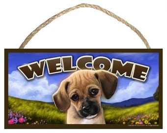 """Puggle (portrait view) Spring Season 10"""" x 5"""" Wooden Welcome Sign"""