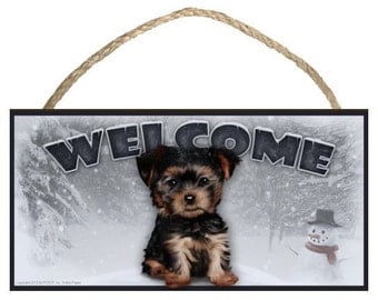 "Yorkie Puppy Winter Season 10"" x 5"" Wooden Welcome Sign"