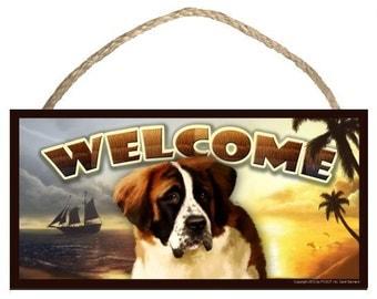 """Saint Bernard Summer Season 10"""" x 5"""" Wooden Welcome Sign"""
