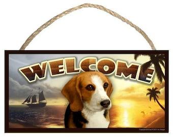 "Beagle Summer Season 10"" x 5"" Wooden Welcome Sign"