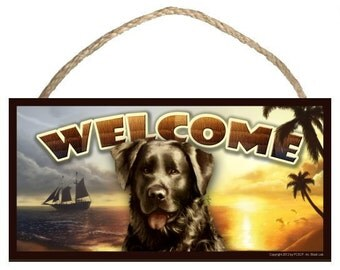 "Black Lab (Labrador Retriever) Summer Season 10"" x 5"" Wooden Welcome Sign"