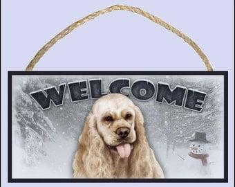"Cocker Spaniel Winter Season 10"" x 5"" Wooden Welcome Sign"