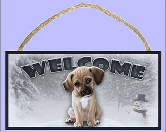 """Puggle (sitting view) Winter Season 10"""" x 5"""" Wooden Welcome Sign"""