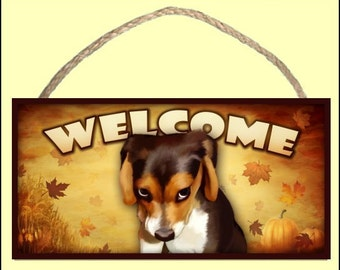 """The Guilty Beagle (portrait) Fall / Autumn Season 10"""" x 5"""" Wooden Welcome Sign"""