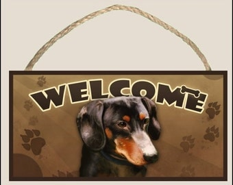 """Dachshund 10"""" x 5"""" Wooden Welcome Sign"""