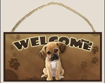 "Puggle ( sitting ) 10"" x 5"" Wooden Welcome Sign"