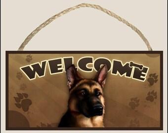 """German Shepherd 10"""" x 5"""" Wooden Welcome Sign"""