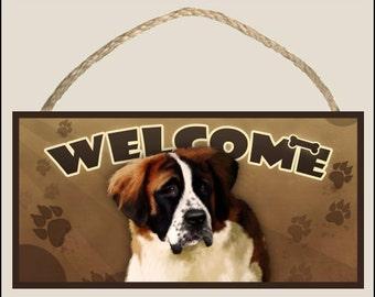 """Saint Bernard 10"""" x 5"""" Wooden Welcome Sign"""