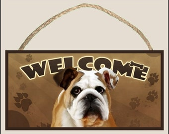 """Bulldog 10"""" x 5"""" Wooden Welcome Sign"""