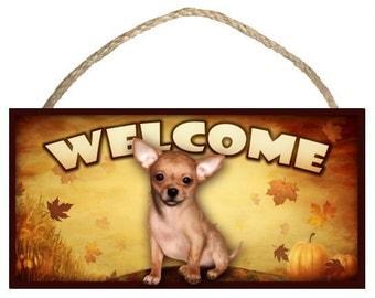 "Chihuahua (tan) Fall / Autumn Season 10"" x 5"" Wooden Welcome Sign"