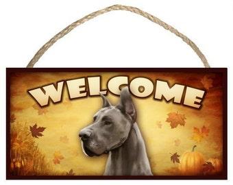 "Great Dane Fall / Autumn Season 10"" x 5"" Wooden Welcome Sign"