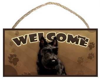 """Scottish Terrier (Scotty) 10"""" x 5"""" Wooden Welcome Sign"""