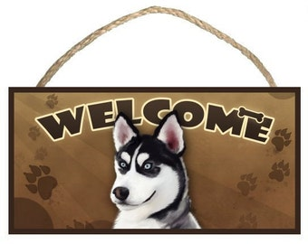 """Siberian Husky 10"""" x 5"""" Wooden Welcome Sign"""