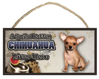 "A Spoiled Rotten Chihuahua Lives Here 10"" x 5"" Wooden Sign v2"