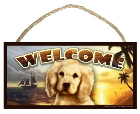 "Cocker Spaniel Puppy Summer Season 10"" x 5"" Wooden Welcome Sign"