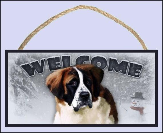 """Saint Bernard Winter Season 10"""" x 5"""" Wooden Welcome Sign"""