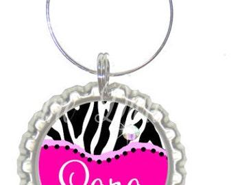 Set of 6 - PERSONALIZED WINE CHARMS - Hot Pink Zebra - Swavorski Crystals- Perfect For Bachelorette Party Favors, Wedding Favor, and Parties