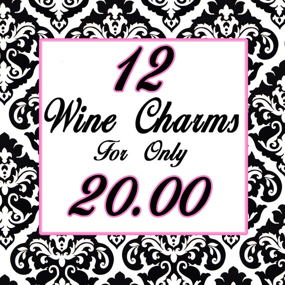 Set of 12 - PERSONALIZED WINE CHARMS - Any Design - Swavorski Crystals- Perfect For Bachelorette Party Favors, Wedding Favor, and Gifts
