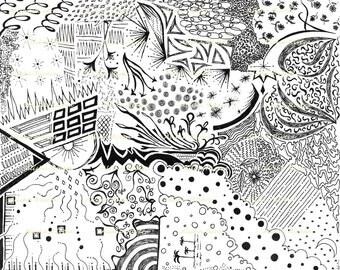 "Original Art Giclee Print   ""Erupt""     11""x14""   Explore Design"
