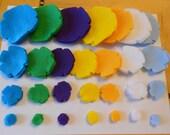 112 felt flower pieces die cut  felt flower magnets spring summer colors -felt crafts turquoise green purple yellow mustard white lt blue