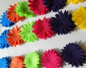90 pieces - bright and bold rainbow mix- felt flower craft die cut pieces turquoise orange mint green hot pink dark purple yellow