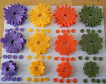 48 piece felt flower crafty kit for DIY projects