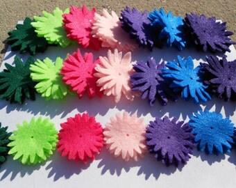 84 pieces die cut flowers 4 of each color - bold jewel tones felt crafts dk green lt green magenta lt pink lt purple dk teal dk purple