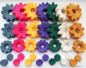 175 pieces- 5 of each- die cut out felt flower pieces felt crafts felt flowers magnet supplies spring colors