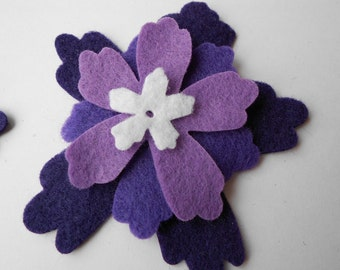 6 purple lavender die cut out ombre flower layers layered felt flower felt craft azalea - 4 pieces per flower - white center