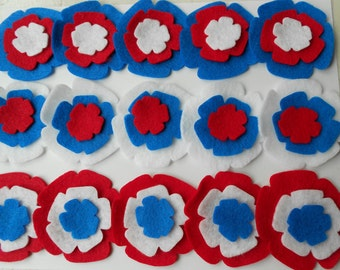 45 pieces fourth of july 4th of july fireworks flowers patriotic felt flowers red white and blue die cut pieces