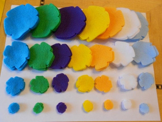 112 felt flower pieces die cut  felt flower magnets spring summer colors -felt crafts turquoise green purple yellow mustard white lt blue