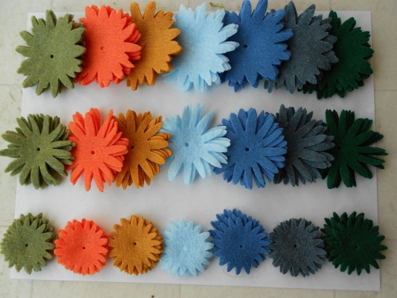 84 pieces felt crafts felt flower magnets felt flowers felt flower die cut dk green moss green orange denim blue mustard blue light blue