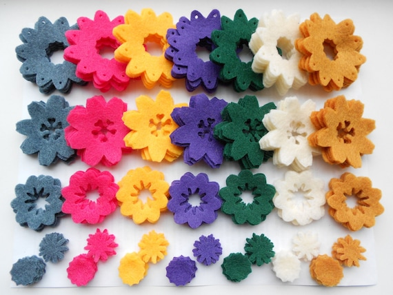 175 pieces- 5 of each- die cut out felt flower pieces felt crafts felt flowers magnet supplies spring colors