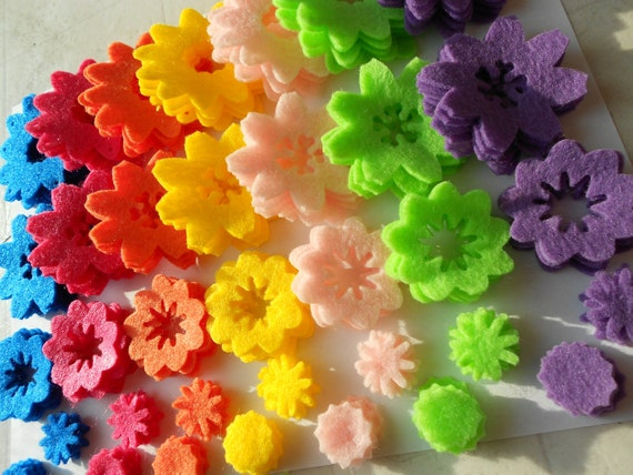 175 felt flower die cut pieces felt crafts summer colors turquoise magenta orange yellow light pink mint green purple