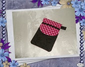 iPhone Pouch Pink and White Polka Dot