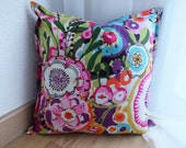 "Multi-color pillow cover 16""x16"" with abstract flower print"