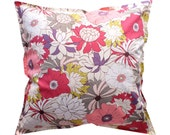 Floral pillow, throw pillow cover 16x16 - Beige / White / Pink / Purple / Grey