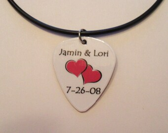 Personalized Guitar Pick Pendant on Black cord Necklace Name Hearts Date Jewelry Custom