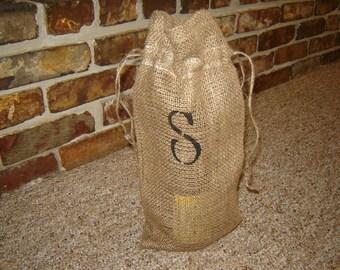 Personalized Burlap Wine Bag with Monogram Initial