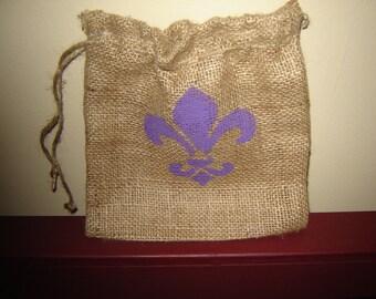 Burlap Gift Bag with Handpainted Fleur De Lis