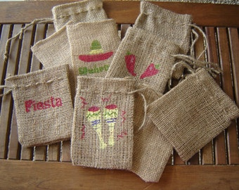 "Set of TEN Personalized Burlap Gift Favor Bags with Handpainted ""South of the Border"" emblems.  Custom Made"