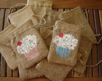 Set of TEN Personalized Burlap Gift Favor Bags with Handpainted Cupcake.  Custom Made