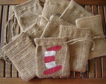 "Set of TEN Personalized Burlap gift Favor Bags with Handpainted ""Cat in the Hat"""