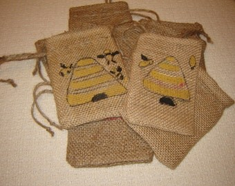 Set of TEN Personalized Burlap Gift Favor Bags with Handpainted Bee Hive and Bees