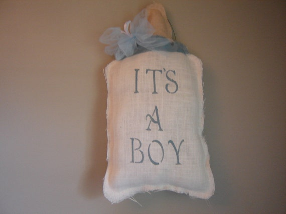 IT'S A BOY White  Burlap Baby Bottle Wall or Door Hanging